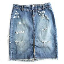Vintage Jeans Gonna a Tubino Personalizzato Sdrucito Bambini Misura 5 USA