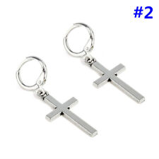 Men Gothic Stainless Steel Silver Dangle Cross Ear Stud Hoop Huggies Earrings 2 #