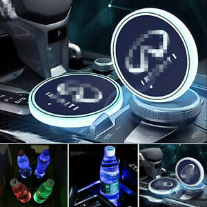2PCS LED Car Cup Holder Lights Pad Mat for INFINITI Atmosphere Lamp Light