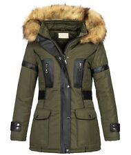 Ladies Winter Jacket Parka Women's Coat Hood Kunstleder-Applikationen D-431 New