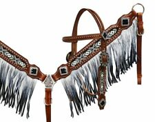 Showman BLACK & WHITE Beaded Bridle OMBRE FRINGE Breast Collar & Reins SET