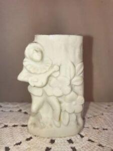 Vtg 130-40's Miniature Japan Bisque Bud Vase Forget-Me-Not Flowers Jester Fiddle