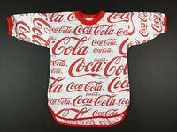 VTG 80s Coca Cola All Over Print Paper Thin Ringer T Shirt Mens S Red White