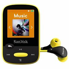 SanDisk Clip Sport 4GB MP3 Player, Yellow With LCD Screen and MicroSDHC Card