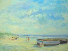"""Painting of French Riviera Beach Scene American Artist Nino Pippa 12""""X16"""""""