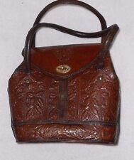 4c30c67667 VINTAGE sac à main cuir travaillé feuilles de houx brun roux TBE