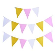 Plain Glitter Gold Pink Glossy Flag Party Bunting 15 Flag 10ft Banner Decoration