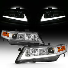 For 04-08 Acura TSX CL9 LED Light Bar Neon Tube Projector Head Lamp L+R Assembly