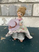 Vintage LEFTON Fancy Bloomer Girl Figuine W/Purple Dress & Hat