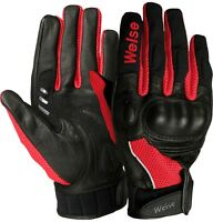 Weise Airflow Plus Black Red Leather Mesh Sport Motorcycle Gloves RRP £34.99!