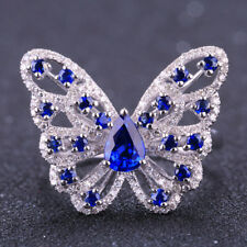 Butterfly Solid G18K White Gold 1.67TCW Natural Sapphire Diamond Engagement Ring