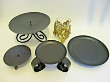 5 Candle Holders in Black and Gold for pillar votive candles USED