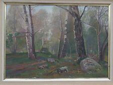 Impressionismo -lichtes Birkenwäldchen -ölgemälde di 1909 -jugendstil