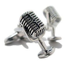 Silver Tone Flash Back Radio Show Microphone Cufflinks Cuff Links Free Shipping