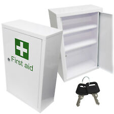 Qualicare Large Medicine First Aid Medical Wall Mount Cabinet Cupboard + Keys