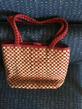 The Sak Purse, Burgundy & Cork Basket Weave, Snap Closure, Zipper Inside Pocket