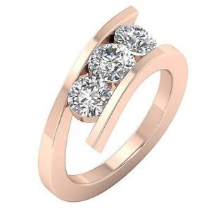 Three Stone Wedding Ring I1 G 1.00 Ct Round Diamond 14K White Yellow Rose Gold