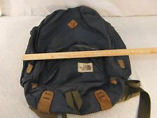 Vintage The North Face Navy Blue Brown Leather Hiking Camping Shoulder Strap Bag