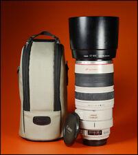 Canon ef 100-400mm F4.5-5.6 L IS USM Zoom Lente. F/R CAPS + Capucha Y Estuche