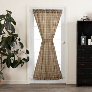 VHC Sawyer Mill Charcoal Plaid Lined Cotton Country Gathered French Door Panel
