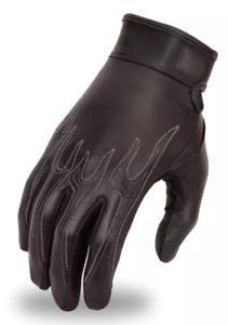 Motorcycle men's leather Gloves White Flame embroidery soft leather
