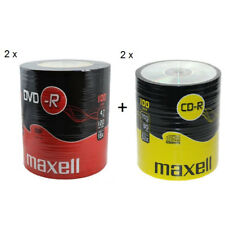 MAXELL 100Pk DVD-R And CD-R Blank Recordable Disc CDs CDR DVDR 2 Pack's Of Each