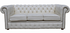 Chesterfield Traditional 3 Seater White Real Leather Sofa Settee