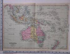 1891 ANTIQUE MAP ~ OCEANIA AUSTRALIA BORNEO NEW ZEALAND NEW GUINEA SUMATRA