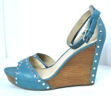 VIA SPAGA BLUE GENUINE LEATHER Women's Shoes SANDALS SIZE 10 M  EXCELLENT
