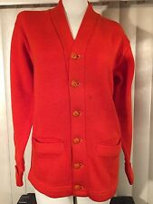 Vintage 1960s Orange Campus Wool Knit Letterman Sweater S Grand Junction HS 60s