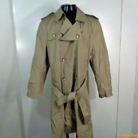 WOODMERE Vtg Long RAINCOAT Rain Trench Coat Mens Size L 42 Khaki belted