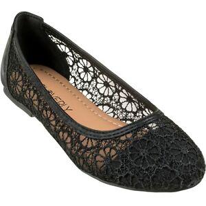 [NEW] CLOVERLAY Women's Lace Flats Crochet Ballet Slip On Ballerina Shoes