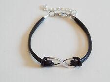 Armband Leder Schnur Infinity Unendlichkeit Mode Schmuck schwarz silber neu