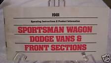 **LOOK** 1981 Dodge Sportsman Van Owners Manual 81