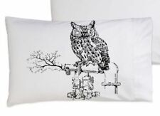 Two (2) Black Steam Punk Owl bedding pillow cover case Pillowcases