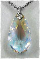 Neu 40cm+5,5cm HALSKETTE 35x20mm SWAROVSKI STEIN kristall AB TROPFEN COLLIER