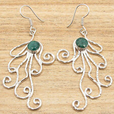 Jewelry Hammered Large Simulated Earrings Emerald Gems ! 925 Silver Plated