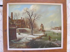 Original Oil Painting Vintage European Village Ice Skating Windmill Snow Scene