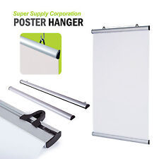 Display Hanging Banner Poster Hangers with Two Rails Silver Satin Aluminum