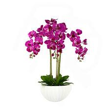 Deluxe Premium Calidad Artificial Rosa orquídeas en maceta de cerámica contemporánea
