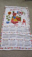 Vintage 1975 Happiness is Tea Towel Calendar Towel Wall Hanging Girl Baking