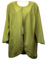 New Tally Taylor Women's Size 16 XL Kiwi Green Chiffon Long Jacket Blazer Top