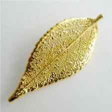 real evergreen leaf gold brooch / pendant - real leaf jewellery + box