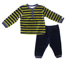 NWT Coccoli Baby Boy Infant Velour Top & Pant Set, Navy Blue/Green ~ SZ 18 Month