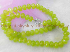 """NEW ELEGANT 6X9MM NATURAL GREEN PERIDOT FACETED RONDELLE BEADS NECKLACE 18"""" AA"""