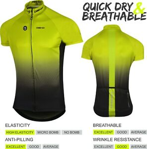 DEKO Men Cycling Jersey Half Sleeve Bike/Bicycle top jersey Short Sleeves Yellow