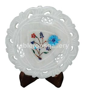 """6"""" White Marble Round Plate Hand Craved Art Turquoise Floral Inlay Decorate P104"""