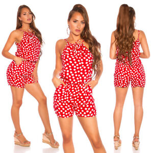 ❤️SOMMER JUMPSUIT MIT PUNKTE ROT GR.34-38/ONE SIZE
