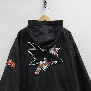 Vintage San Jose Sharks Pro Player Hooded Long Denim Jacket XL Black 90s NHL