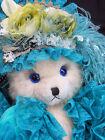 "VINTAGE Handmade OOAK Victorian stuffed BEAR plush fur MUSICAL velvet LACE 18"""
